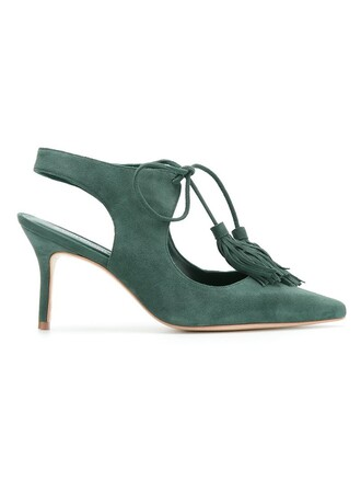 women pumps suede green shoes