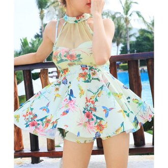 swimwear dress floral spring fashion tankini summer girly trendsgal.com