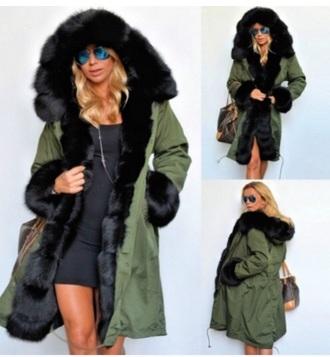 coat faux fur trimmed hooded parka jacket