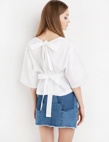 Tie Back Crop Shirt - White Bow Tie Shirt -