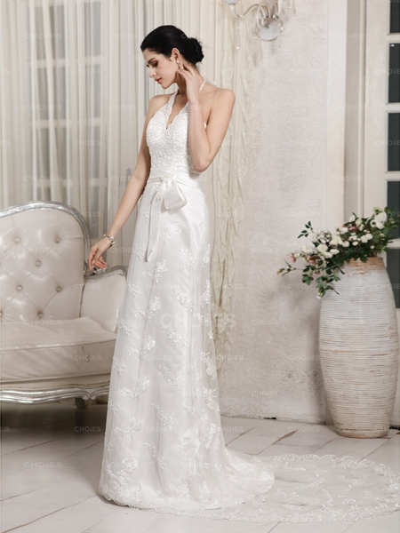 Neck sleeveless court train lace satin wedding dress