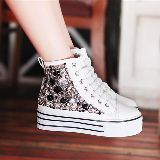 Women's Lace Up Sneaker Thick Platform Rhinestone High Top Canvas PU Shoe YY531 | eBay