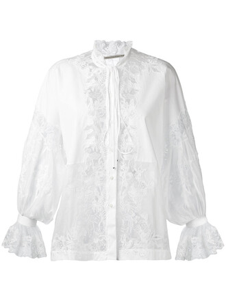 blouse women lace white cotton top