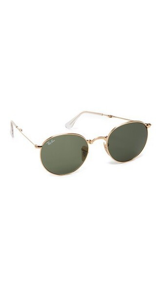 sunglasses round sunglasses gold green
