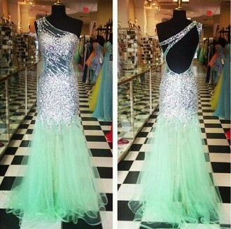 dress mint dress mermaid style long dress one shoulder sequin dress prom dress