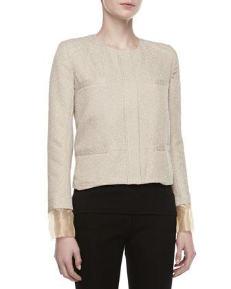 Zac Posen Tweed Placket Boxy Jacket, Beige  - Neiman Marcus