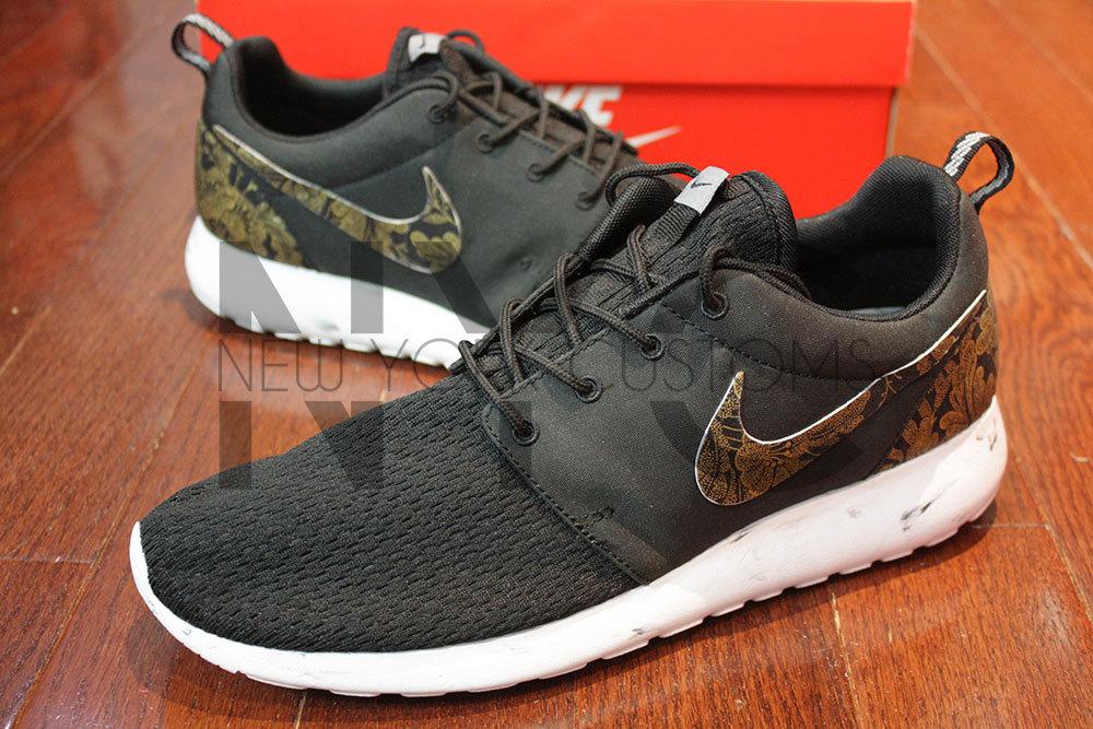 cff310db2bb92 Nike Roshe Run Black White Marble Metallic Gold Floral Supreme ...