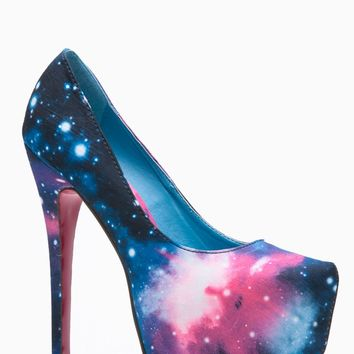 Liliana Solange Almond Toe Galaxy Print Heel @ Cicihot Heel Shoes online store sales:Stiletto Heel Shoes,High Heel Pumps,Womens High Heel Shoes,Prom Shoes,Summer Shoes,Spring Shoes,Spool Heel,Womens Dress Shoes on Wanelo