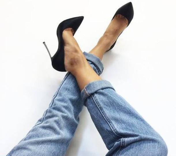 jeans high heels black boyfriend jeans