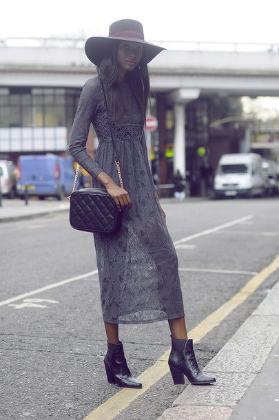 bisous natascha blogger hat grey dress lace dress black girls killin it dress baddies booties boots chanel