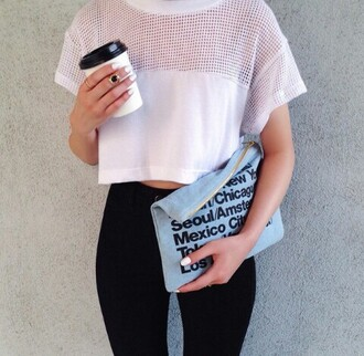 shirt white crop top t-shirt american apparel coffee bag