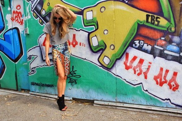 slit snake print colorful thigh cool