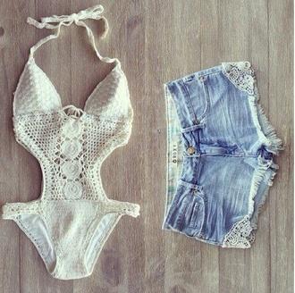 swimwear cute lace one piece shorts white denium