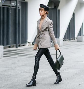 hat beret blazer blue and grey blazer pants black pants leather pants black leather pants boots black boots ankle boots