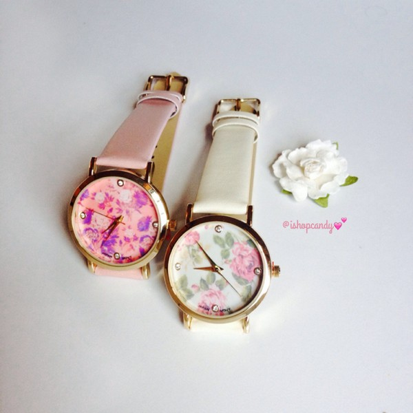 jewels floral watch floral watch flowers pink ivory beautiful