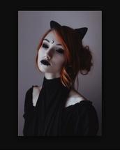 hair accessory,cat ears,goth,gothic grunge,cool,fashion,shirt,gothic lolita,pastel goth,black,beautiful,moon,dark