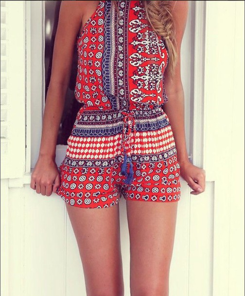 romper paisley beach summer jumpsuit aztec pattern red blue white red romper pattern waist tie boho dress blue white cute love boho chic color/pattern jumper