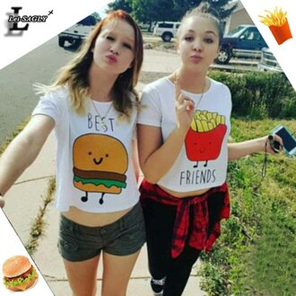 top ogvibes fashion style casual summer best bitches girly bff bff shirts t-shirt hamburger best friend shirts