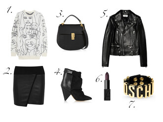 bag jewels sweater outfit black skirt blogger fashion vibe perfecto asymmetrical moschino lipstick