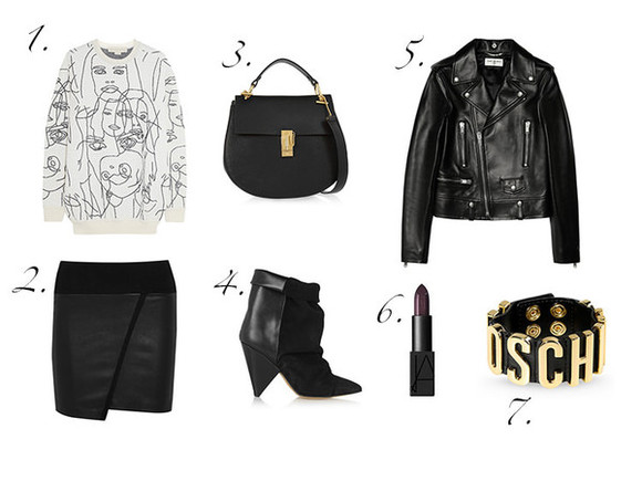 blogger perfecto bag jewels lipstick fashion vibe sweater asymmetrical moschino black skirt outfit
