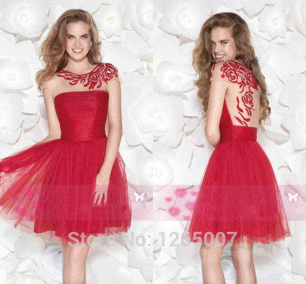 Aliexpress.com : Buy Fashion Round Neck Cap Sleeves A Line Tulle Red Lace Mini Short Party Dresses Gowns Special Occasion Fashion from Reliable cap sleeve wedding dress suppliers on SFBridal