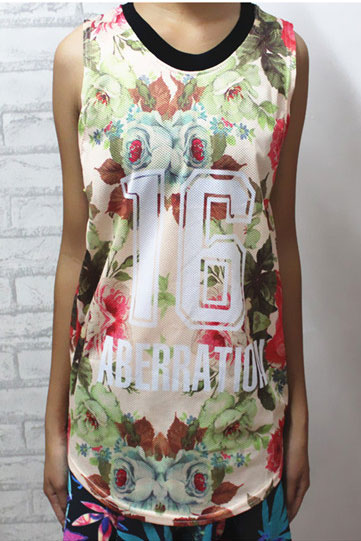 Number 16 Latters Floral Print Sleeveless Tee [FCBI00475] - PersunMall.com