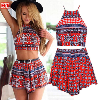 GJ39 New womens sexy red sleeveless halter Aztec print two pcs PLAYSUITS Ladies Backless Party Jumpsuits Rompers Beach Clubwear-in Jumpsuits & Rompers from Women's Clothing & Accessories on Aliexpress.com | Alibaba Group