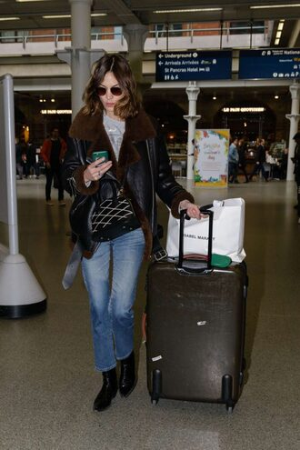 jacket jeans top sunglasses airport fashion