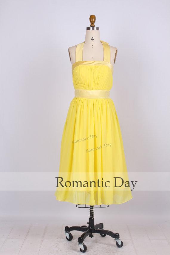 2014 hot sale yellow ruched halter bridesmaid dresses/party dress/evening dress/beach dresses/summer dress/chiffon a