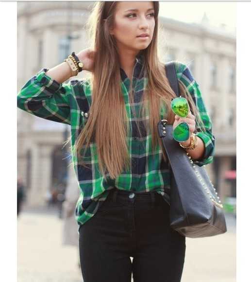 shirt plaid shirt black green