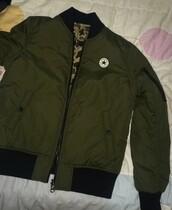 jacket,converse,green bomber jacket,bomber jacket