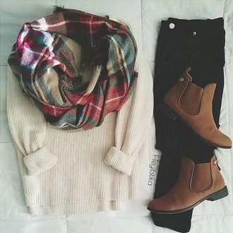 sweater white plaid scarf brown booties black jeans