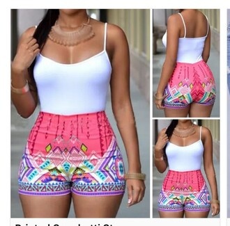 shorts pink pink shorts printed shorts aztec aztec short milti color high waisted bright aztec shorts high waisted bright shorts bright shorts neon high waisted shorts white purple or pink and white cut off shorts cute shorts