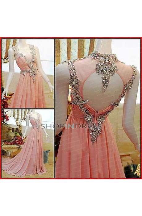 Neck floor length chiffon pink prom dress with rhinestone npd098091 sale at shopindress.com