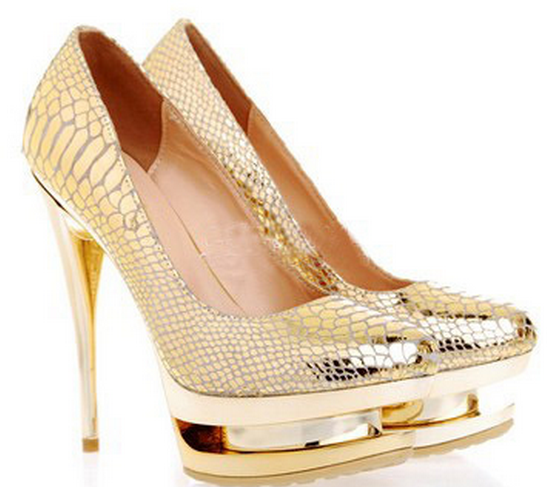 Gold Glitter Double Platform High Heel