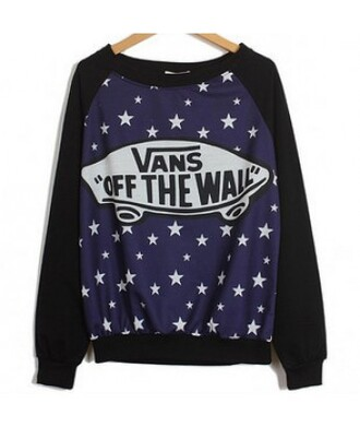 sweater sky stars galaxy print vans trendy hippie it girl shop