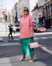 sweater,oversized sweater,high neck,flip-flops,handbag,silk,midi skirt,sunglasses