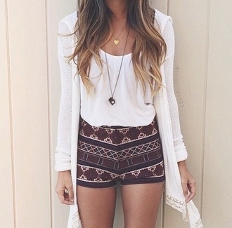 shorts outfit shirt cardigan white crop tops aztec aztec short