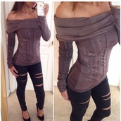 blouse,brown top,top,denim pants,long sleeve top,brown dress,style,black pants,black,ripped jeans,jeggings,fashion,outfit,off the shoulder sweater,tights,streetwear,streetsyle,urban outfitters,jeans,pants,leggings,sweater,shirt
