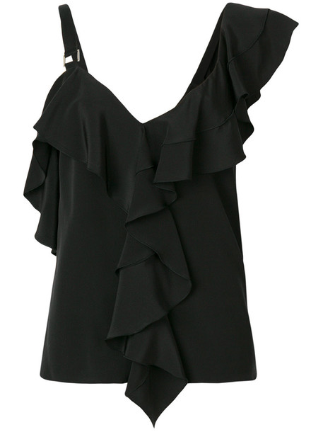 Proenza Schouler blouse ruffle women black silk top