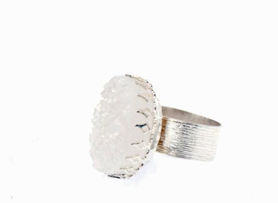 White drusy quartz statement ring by paperxlace on etsy
