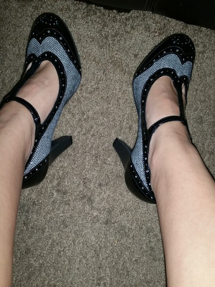 grey black shoes heels