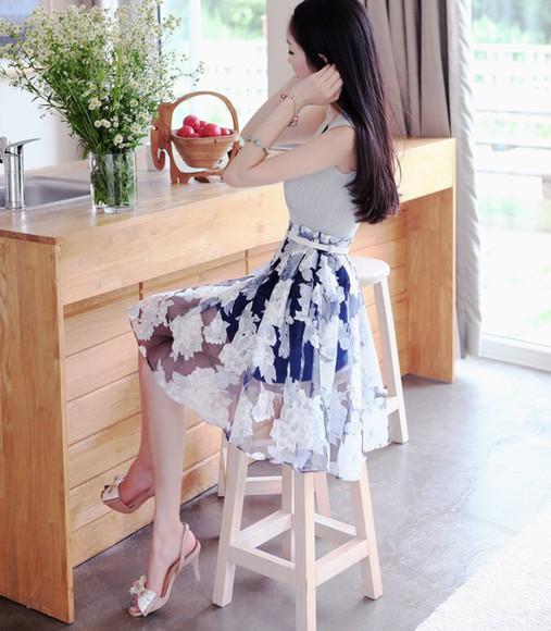 skirt floral skirt blue skirt sheer