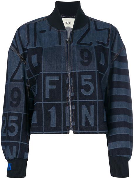 Fendi - denim bomber jacket - women - Cotton/Spandex/Elastane - 38, Blue, Cotton/Spandex/Elastane