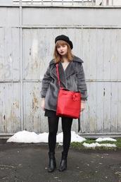 kristina magdalina,blogger,coat,bag,skirt,sweater,tumblr,grey coat,fur coat,red bag,mini skirt,tights,opaque tights,boots,black boots,ankle boots,beret