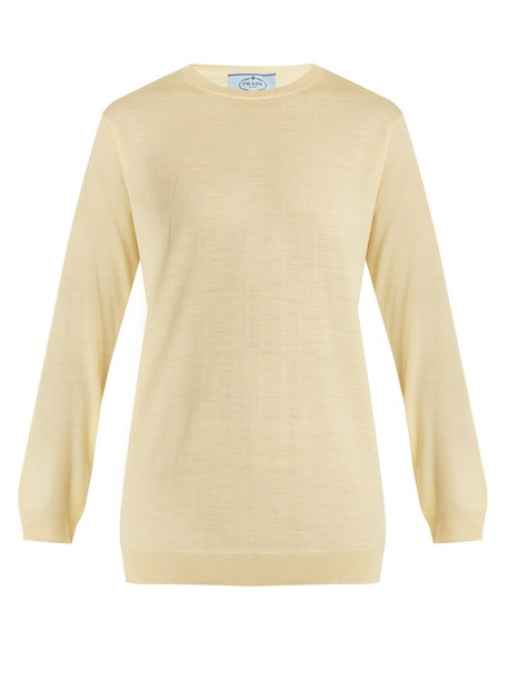 Prada sweater wool knit light yellow