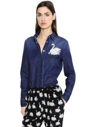 shirt denim shirt denim embroidered cotton navy top