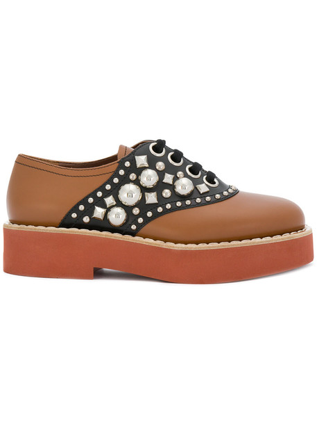 Miu Miu women shoes lace leather brown
