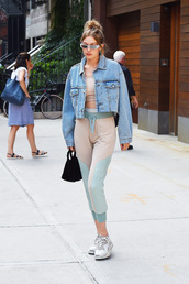 jacket,gigi hadid,sweatpants,denim jacket,sneakers,sunglasses,model off-duty,streetstyle