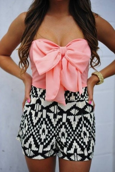 tribal pink shorts black and white crop tops aztec dress lace black white shirt peachy bow striped blouse bow coral playsuit romper tank top peach, pink, bow, summer, top strapless top black and white shorts, cute pink bow tribal romper bows